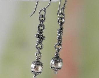 Rustic Sterling Silver Earrings. Organic Oxidized. Dangling Beads & Knots -Lisa