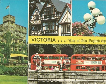 Vintage 1970s Postcard Victoria British Columbia BC CanadaOlde English Charm Architecture Multiview Card Photochrome Postally Unused