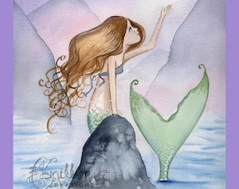 Mermaid and Wishing Star Original Watercolor Painting by Camille Grimshaw