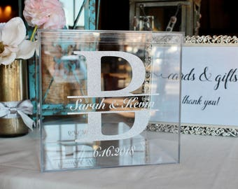 Personalized Wedding Card Box I Acrylic Card Box I Wedding Card Box with Lid | Wedding Money Box | Wedding Card Box | Wedding Card Holder