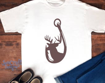 Deer and Hook in Svg, eps, dxf, Ai and PNG Format fishing svg file for Cricut and Silhouette, Hunting Fishing