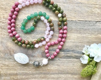DREAM OF LOVE Mala Bead Necklace with Unakite,Pink Chalcedony and Rhodonite ,Boho Long Bead Necklace,Yoga Necklace,Meditation Beads Necklace