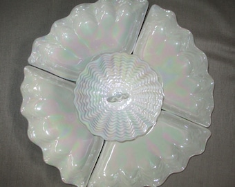 MADDUX of CALIFORNIA Vintage Pearlized Irridescent SEASHELL Clam Lazy Susan Snack Chip Dip Serving Set 6 pieces Opal