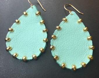 Gold studded Aqua Leather teardrop earrings