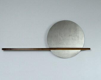 "Rise|Set Mirror, 24"" Round Mirror and Floating Shelf - Entryway Mirror - Mirror on RIGHT Side - Round Mirror"