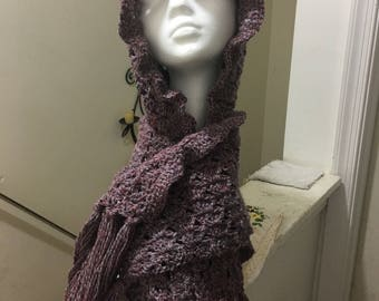 Crocheted hooded scarves with ruffled border