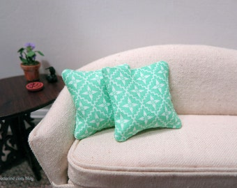 Teal and White pillows - set of two - dollhouse miniature