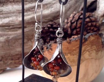 Lily shaped Sterling silver earrings with micro-facetted Garnet and Carnelian