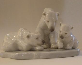 Lladro Polar Bear Family; Daisa Made in Spain