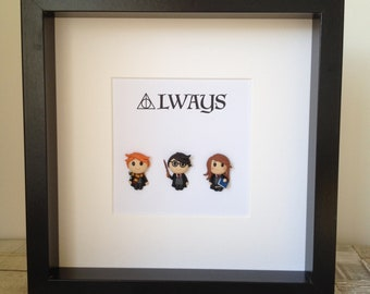 Pop Cult Harry Potter Style Box Frame - Polymer Clay Chibi Figures of Character from Harry Potter - Harry Potter, Hermione, Ron