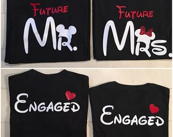 Disney Inspired Couples Engagement Wedding Shirts.  Mr & Mrs Set Love Just Married Engaged.