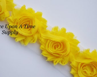 Bright Yellow Solid Color Shabby Rose Trim - Shabby Chiffon Rosettes - 1/2 Yard or 1 Yard - Hairbow Making Supplies