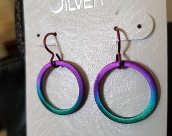Niobium earrings natural anodized niobium earrings hypoallergenic jewelry purple circle earring sterling silver jewelry beach fashion gift
