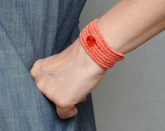 Boho bracelet Crochet wrap bracelet Wrap Crochet bracelet Cuff bracelet Everyday bracelet Bohemian bracelet gift for her Crochet jewelry