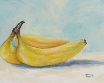 """Bananas V  5"""" x 7"""" Original Daily Still Life Painting on Ampersand Claybord by Torrie Smiley"""