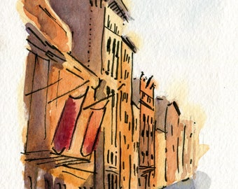 4x6 Original Watercolor Painting - The Public