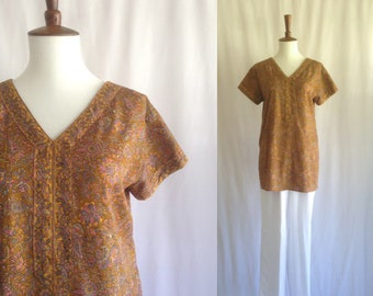 Vintage silky Indian tunic / short sleeved