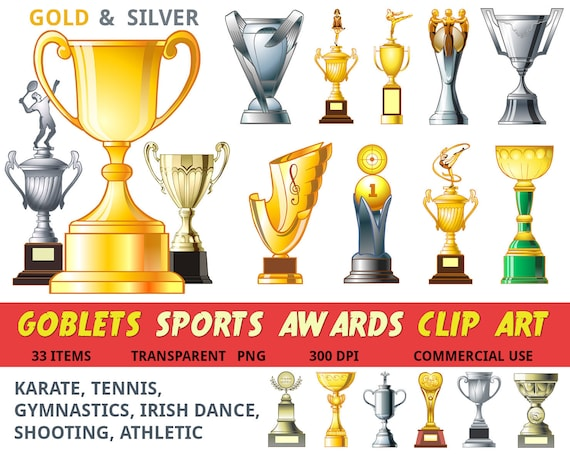 Trophy Clipart Sports Award Goblet Cup Gold Silver