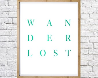 Wanderlost Print, Inspirational print, digital instant download, motivational poster, typography art, print