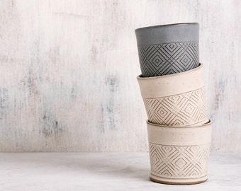 Ceramic Espresso Cup, White tea cup, Modern Espresso Cup, ceramic tumbler, handmade pottery mug, Geometric Pattern cup, Coffee Lovers Gift