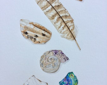 A4 Original watercolour painting of pottery shards, shells & feather