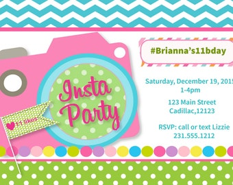 Instagram Party Invitation - Girl's Instagram Party Invitation for Tween or Teen Theme Birthday Party