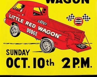 1965 Great Lakes Dragaway Little Red Wagon Vintage Reproduction Racing Poster