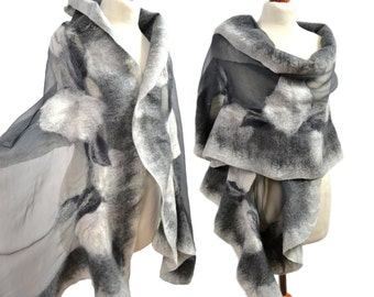Large silk scarf, felted wool from Australian merino + natural silk. Unique gift, for wedding, dresses Nuno Felting
