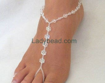 Flower Beaded Barefoot Sandals for your Beach Wedding Party Feet Bridal Party Foot Jewelry Dance Barefoot at your Wedding Reception