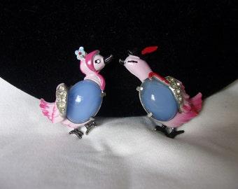 Coro Mr and Mrs Duck Bird Blue Jelly Belly Pink Enamel Glass Rhinestone Brooch Pin Pair