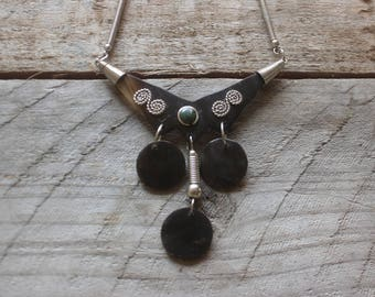 Vintage 90's faux silver earthy necklace with resin feature embellished with stone & dangles boho festival tribal