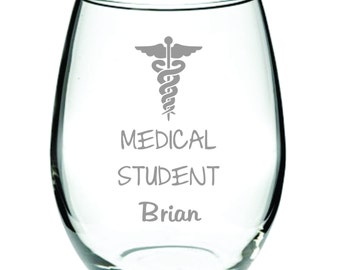 Medical Student Glass FREE Personalization Beer, Wine