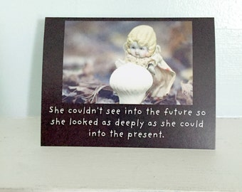 "Bisque Dolly Stationary Silly Doll Card ""The Present"" Typography Funny Mushroom Notecard Travelling Dolly"