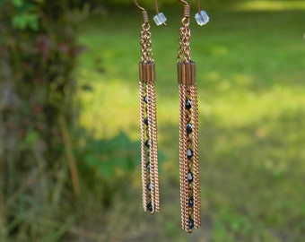 Copper Chain Dangle Earrings