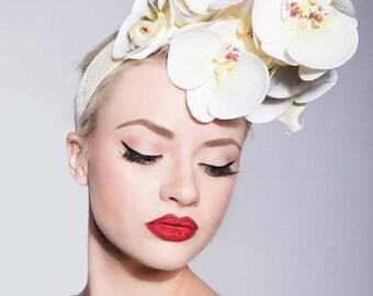 Ivory Cream Orchid bridal Hair flower Fascinator Headpiece