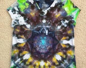 Tie Dye Ice Dye Mandala Girls Large Vneck Cap Sleeve Shirt - Heart of the Nebula