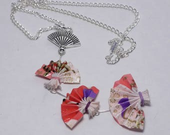 Pink origami fan necklace