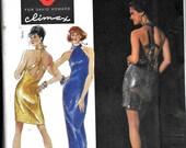 Simplicity 7612 Vintage 1990s Designer David Howard CLIMAX Evening Halter Dress Backless Sewing Pattern UNCUT Size 12, 14, 16