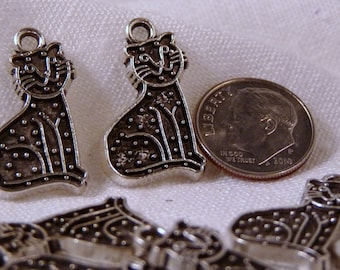 Charms, Cats, Silver, Spotted 4819-4