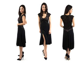 The V Argentine Tango dress - Jersey & lace