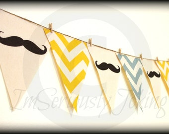 Mustache Banner -Little Man Party-Baby Shower-mustache bunting- Party Banner -Blue and Yellow Chevron-Little Man-Mustache Party