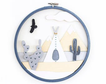 Indian Landscape into an Embroidery Frame with Teepee, Cactus, Mountains, Cloud - 3D framework, Wall Art, Home Decor