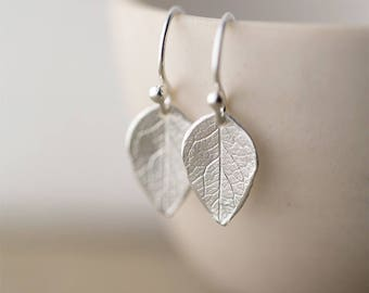 Sterling Silver Leaf Earrings | Mother's Day Gift | Silver Dangle Earrings for Women | Gifts for Mom | Handmade Jewelry by Burnish