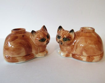 Set of Two Vintage Mann Kitty Cat Candlestick Holders, Candleholders, Candle Holders, Pair, 2, Ceramic, Cat Laying Down, Sitting Cat, Cats