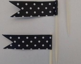 Black and White Polka Dot Cupcake Toothpick Flags.  Cupcake Decorations.  Flag Toothpicks. Cupcake Toppers