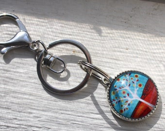 Blue & Russet Red Tree of Life Cabochon Keyring