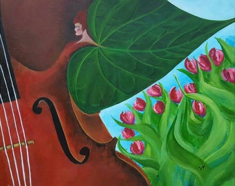 THE CELLO: (60 x 50 cm), Acrylic on Canvas