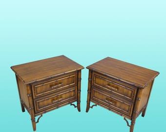 Pair of Mid-Century Faux Bamboo Nightstands,  Henry Links Nightstands, Vintage Nightstands