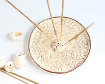 Ceramic Mandala Incense Stick Holder/White Ceramic Incense Holder/Incense Holder/Incense Burner/Meditation tools/Ash Catcher/White holder