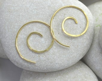 Hammered Mini Spiral Earrings, swirls in sterling silver, solid 14K or gold fill